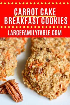 Carrot Cake Breakfast Cookies | Largefamilytable.com Apple Recipes, Cake Recipes, Dessert Recipes, Desserts, Delicious Cookie Recipes, Yummy Cookies, Healthy Cookies, Breakfast Cookie Recipe, Breakfast Recipes