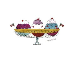 Ice Cream Dessert, c.1959 Print by Andy Warhol at Art.com