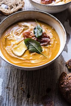 Butternut Squash and Brie Soup with Crispy Pancetta | halfbakedharvest.com @hbharvest