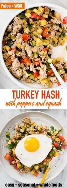 Ground turkey hash is one of my favorite and paleo breakfast prep recipes. It's a fast easy hearty and healthy ground turkey recipe that's naturally paleo gluten free and low carb. Ground turkey hash i Whole Foods, Paleo Whole 30, Clean Eating Snacks, Clean Eating Recipes, Healthy Eating, Clean Foods, Turkey Hash, Turkey Chili, Desayuno Paleo