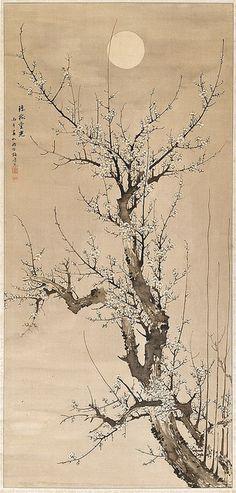 Yamamoto Baiitsu (Japanese, 1783–1856), Prunus in the moonlight, ink on silk…