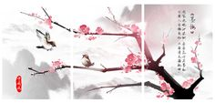 "CanvasCEO Cherry Plum Tree Blossom Love Birds Flower Chinese Canvas Fiberboard Print Framed Wall Art 3 Panel Set (31x24x1"" (80x60x2.5cm) X3 Panels)"