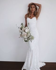 Grace Loves Lace Hart - Graco - Ideas of Graco - Beautiful Slip Mermaid Wedding Dress / Bridal Gown with Spaghetti Straps Open Back and a Train. Dress by Grace Loves Lace Affordable Wedding Dresses, Best Wedding Dresses, Wedding Attire, Bridal Dresses, Wedding Gowns, Maxi Dresses, Elegant Dresses, Backless Wedding, Summer Dresses