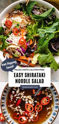 Vietnamese Shirataki Noodle Salad recipe with konjac miracle noodles and Vietnamese dipping sauce (nuoc cham) are low carb, easy, and delicious! #lowcarb #keto #vietnamese #noodles #paleo #salad Paleo Recipes Easy, Side Dish Recipes, Clean Eating Recipes, Asian Recipes, Summer Recipes, Lunch Recipes, Free Recipes, Vietnamese Noodle Salad, Best Keto Meals