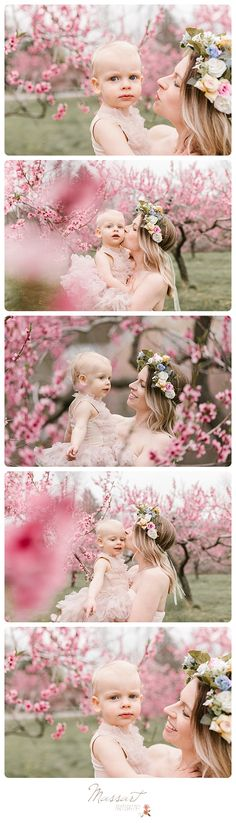 Family spring portrait inspiration! Outdoor mother and daughter styled pictures taken in a blooming orchard; flower crown, tutu, gown | Photo by Massart Photography, a Rhode Island newborn, family and wedding photographer. | www.massartphotography.com; info@massartphotography.com #mommyandme