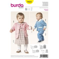 smart coordinates for girls and boys. three variants of jackets, doubled with contrast fabric. cute, matching dress with peter pan collar and rearward buttoning. the pull-on pants fit boys and girls