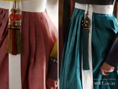 Use of NoRiGae. Decorative ornaments for Korean hanbok. Korean Hanbok, Korean Dress, Korean Outfits, Korean Traditional Dress, Traditional Fashion, Traditional Dresses, Macramé Art, Korean Accessories, Wrap Around Skirt