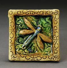 dragon fly - green - tile by Rolling Raven Sculpture, via Flickr