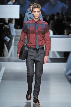Fendi Men's RTW Fall 2013 I do like the juxtaposition of the solid against the plaid