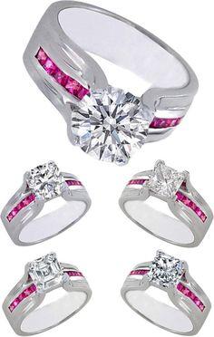 Diamond Bridge Engagement Rings Pink Sapphires aaahhhhhh!!!!!! I love, love, love, love the pink!!!!