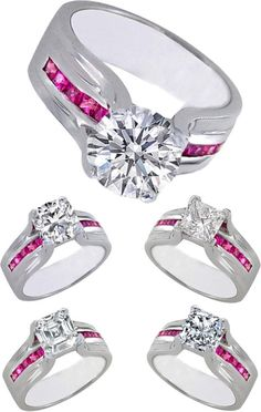 Diamond Bridge Engagement Rings Pink Sapphires. Love this style with red rubies.