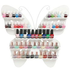 5 Tier Large White Butterfly Design Metal Wall Mounted Salon Nail Polish / Essential Oils Organizer Rack MyGift http://www.amazon.com/dp/B010P0DL3W/ref=cm_sw_r_pi_dp_DoNowb0DZ20BS