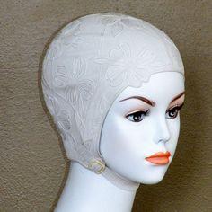 fe15f994b98 Vintage Sea Siren Swim Cap, 50s White Flower Embossed Rubber Bathing Cap &  Chin Strap, Vintage 1950s Swimming Hat
