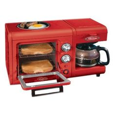 3-in-1 Breakfast Station. I'm sorry this is just too cool.  And it's cherry red, too