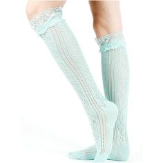 Le Chic Lace Knee High Socks in Mint Green ❤ liked on Polyvore featuring intimates, hosiery, socks, lace knee high socks, knee hi socks, knee high socks, lace hosiery and lace socks