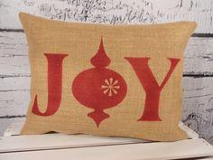 Christmas burlap pillow cover   Joy with ornament by LaRaeBoutique, $31.00