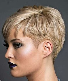 Short Hair Trends and Ideas Trend Image Description Great hair and lipst … Short Pixie Haircuts, Pixie Hairstyles, Blonde Haircuts, Short Pixie Cuts, Glasses Hairstyles, Edgy Pixie, Asymmetrical Pixie, Haircut Short, Long Pixie