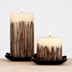 Pottery Barn - White Twig Pillar Candles Homemade Scented Candles, Led Candles, Unique Candles, Handmade Candles, Rustic Candles, Candle Art, Candlemaking, Diy Wax, Pottery Barn