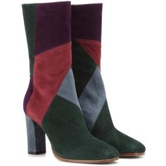 Etro Suede Boots (€455) ❤ liked on Polyvore featuring shoes, boots, etro, multicoloured, suede leather shoes, colorful shoes, multicolor shoes, multi color boots and suede leather boots