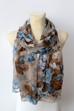 Hey, I found this really awesome Etsy listing at https://www.etsy.com/listing/209152231/blue-brown-floral-scarf-fashion-scarf