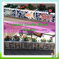 Mosaic cinder block planters-  Mother's Day gift with kids initials tiled on the back.