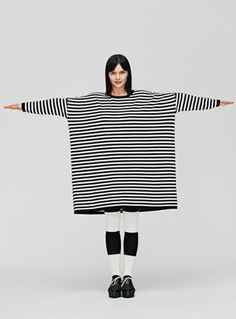 Choose horizontal striped tops carefully-- they can add a bit of width to your torso. #SuperStyleFile