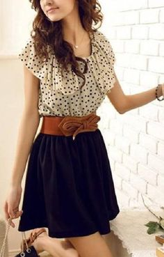Polka Dots Printing O-neck Falbala Cuff Chiffon Dress | Love the back