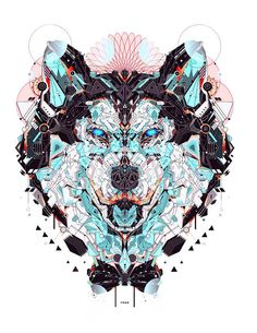 I like this because different types of colors makes up an image of a wolf, and there is color contrast, repetition, and dark vs. light contrast.