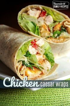These Chicken Caesar Wraps are excellent tasting and very filling! It is like a … These Chicken Caesar Wraps are excellent tasting and very filling! It is like a delicious Caesar salad all wrapped up and ready to take on the go. Healthy Eating Recipes, Healthy Foods To Eat, Lunch Recipes, Dinner Recipes, Cooking Recipes, Salad Recipes, Healthy Cooking, Pasta Recipes, Chicken Caesar Wrap