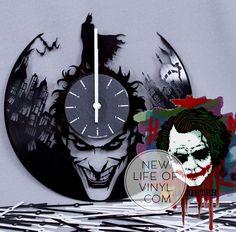 #vinyl #recycled #clocks with #Batman and #Joker #dc_comics #birthday_present #home_decorating_ideas  #holiday_present #gift_ideas #handmade_gift #vinylclock