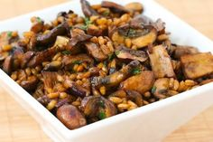 Recipe for Farro with Mushrooms, Thyme, and Balsamic Vinegar.  If you haven't tried Farro, it's a type of ancient wheat from Italy that's chewy and delicious.   [from Kalyn's Kitchen] #Vegan  #SideDish
