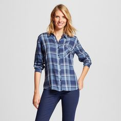 Women's Button Down Plaid Shirt Mixed Print Dress Blues Combo -