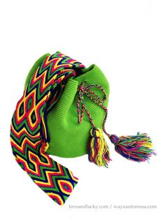 Green Authentic Wayuu Bag  Wayuu Mochilas Bags by loveandlucky, $89.00