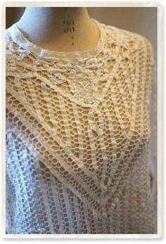 アンティークバテンレースのブラウス - 【Belle Lurette】ヨーロッパ フランス アンティークレース リネン服の通販 Needle Lace, Renaissance, Crochet Top, Ribbon, Feminine, Textiles, Embroidery, Detail, Ideas