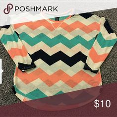 Chevron blouse Chevron blouse.Perfect condition! I had to re-posh only because it fits too big.I hate selling it...really cute! (Photo credit: @aldent89 :) Rue 21 Tops Tees - Long Sleeve