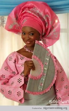 I just love Nigerian Weddings: The colors are just beautiful and different! African Wear, African Attire, African Women, African Dress, African Fashion, African Style, Nigerian Bride, Nigerian Weddings, African Weddings