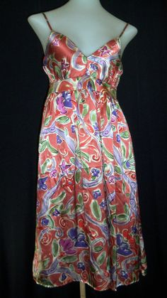 New PAMELA FERRARI Small Burnt Orange Spaghetti Strap Dress  #PamelaFerrari #Sundress #SummerBeach