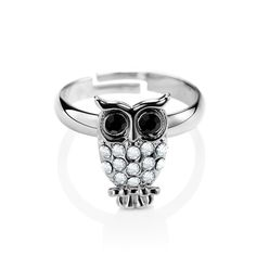 Shop for Adjustable Owl Ring, OKA Jewelry Rhinestone Owl Adjustable Ring is crafted of 14k gold plating and well fits any finger sizes.