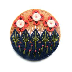 Wonderland felt brooch with freeform embroidery