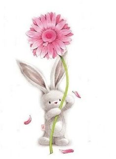 Bunny and flower Illustration Inspiration, Cute Illustration, Bunny Art, Cute Bunny, Animal Drawings, Cute Drawings, Easter Drawings, Cute Images, Cute Pictures
