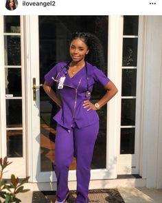 Black Female Nurse in purple scrubs Cute Nurse, Nurse Love, Rn Nurse, Beautiful Nurse, Beautiful Black Women, Cute Scrubs, Cute Nursing Scrubs, Nursing Goals, Nursing Clothes