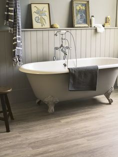 Fired Earth paint colour - oak apple on Canterbury freestanding bath no tap holes Bathroom Paneling, Bathroom Cladding, Wood Bathroom, Family Bathroom, Small Bathroom, Bathroom Ideas, Small Cottage Bathrooms, Wainscoting, Bathroom Styling