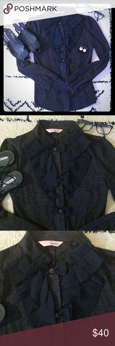 Classic Pleated button down Charcoal gray pleated top has hidden buttons to lay flat. Material is polyester/acrylic. Beautiful pleated chiffon detail on bust, and beaded detail on top 3 bows. EXTREMELY adorable top was worn a couple times with a black leather pencil skirt. 😍😍😍😍 Tops Blouses