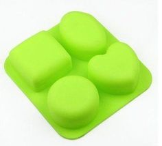 Shoprt 4 Cavities Heart Square Round Oval Silicone Cake Baking Mold Cake Pan Muffin Cups Handmade Soap Moulds Biscuit Chocolate Ice Cube Tray DIY Mold *** Read more reviews of the product by visiting the link on the image.