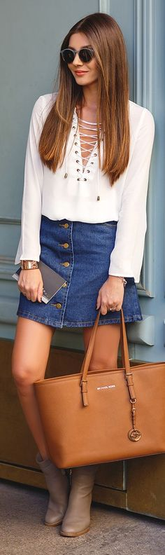The Mysterious Girl White Lace Up Top Denim Button Skirt Fall Inspo