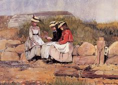 """""""Girls with Lobster,"""" Winslow Homer, watercolor, Cleveland Museum of Art. Winslow Homer, Baroque Painting, Cleveland Museum Of Art, Oil Painting Reproductions, Illustrations, American Artists, American Realism, Artist Art, Les Oeuvres"""