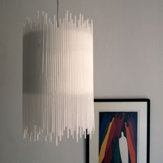 Straw Chandelier - paper straws glued to Ikea Drum Shade pendant lamp