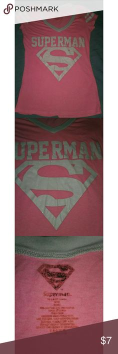 Superman pink & white size small short sleeve tee Superman pink & white size small short sleeve tee. Letters are in decent shape. Cute shirt. Tops Tees - Short Sleeve