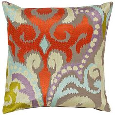 "Surya Radiant Swirl Red and Gray 18"" Square Throw Pillow"