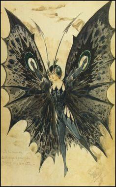 Alfredo Edel, Black Butterfly Costume, 1908.